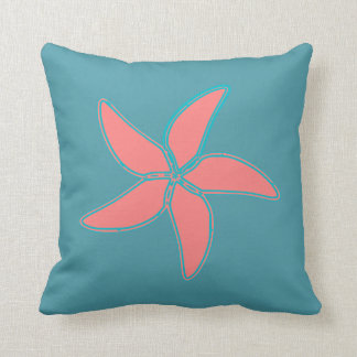 Coral Pink Starfish Cyan Throw Pillow Throw Cushions