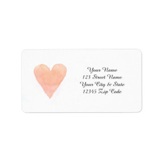 Coral pink watercolor painting heart address label