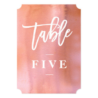 Coral, Pink watercolor wedding table number