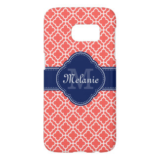 Coral Pink Wht Moroccan Pattern Navy Monogram