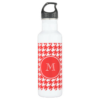 Coral Red and White Houndstooth Your Monogram 710 Ml Water Bottle