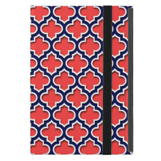 Coral Red, Navy White Moroccan Quatrefoil #5DS Case For iPad Mini