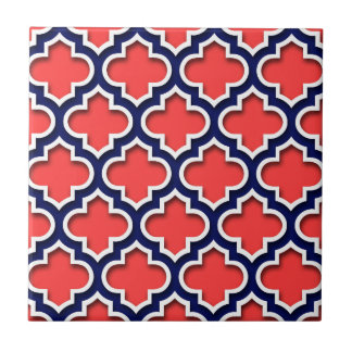 Coral Red, Navy White Moroccan Quatrefoil #5DS Small Square Tile