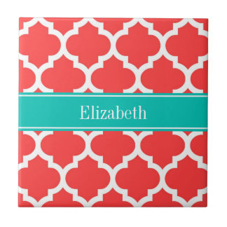 Coral Red Wht Moroccan #5 Teal Name Monogram Small Square Tile