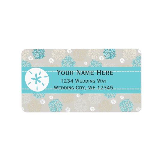 Coral Reef and sand dollar beach theme Label