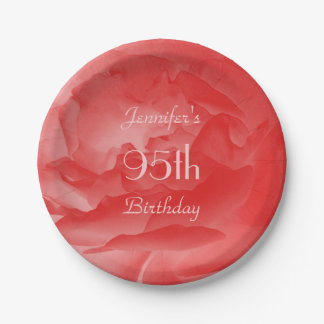 Coral Rose Paper Plates, 95th Birthday 7 Inch Paper Plate