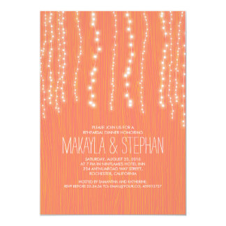Coral Rustic String of Lights Rehearsal Dinner 13 Cm X 18 Cm Invitation Card