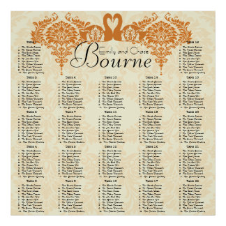 Coral Swan Damask Seating Chart Poster
