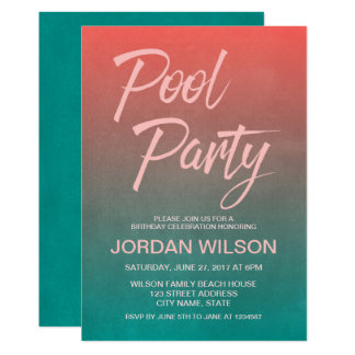 Coral Teal Birthday Anniversary Pool Party Invite