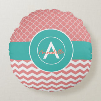 Coral Teal Chevron Quatrefoil Round Cushion
