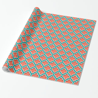 Coral Teal White Moroccan Quatrefoil #5DS Wrapping Paper