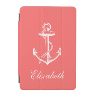 Coral Vintage Anchor Monogram iPad Mini Cover