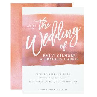 Coral Watercolor wedding invitation
