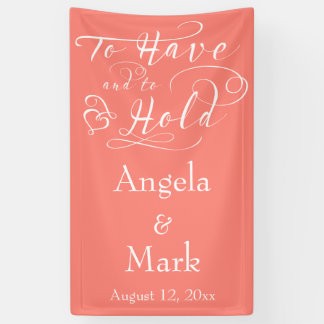 Coral White Personalized Wedding Banner