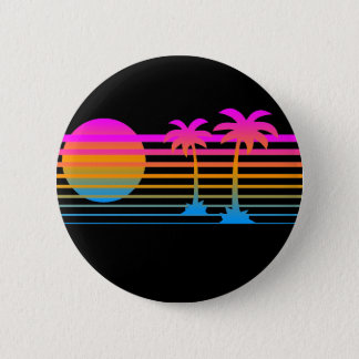 COREY TIGER 80s RETRO PALM TREES TROPICAL SUNSET 6 Cm Round Badge