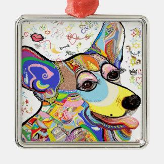 Corgi Silver-Colored Square Decoration