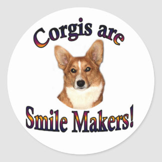 Corgis are smile Makers - Pippin Classic Round Sticker