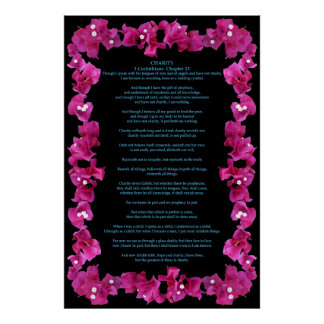 Corinthians I-13 in a Bougainvillea Frame Poster
