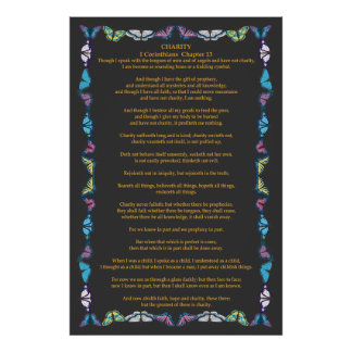 Corinthians I-13 in a Butterfly Frame Poster
