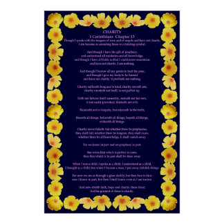 Corinthians I-13 in a Golden Poppy Frame Poster