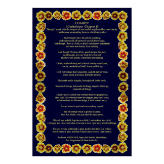 Corinthians I-13 in a Prickly Pear Cactus Frame Poster
