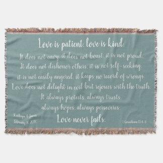 Corinthians, Love is Patient (add Names & Date) Throw Blanket