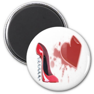 Corkscrew Red stiletto shoe with bleeding heart Refrigerator Magnet