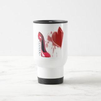 Corkscrew Red stiletto shoe with bleeding heart Mug