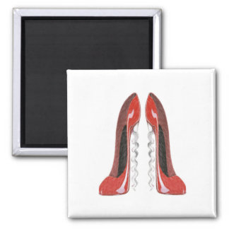 Corkscrew Red Stiletto Shoes Square Magnet