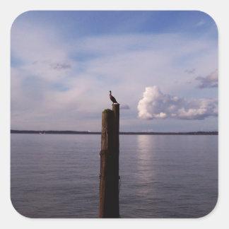 Cormorant On Pole Square Sticker