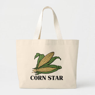 Corn Star Funny Vegetable Pun BBQ Humor Large Tote Bag