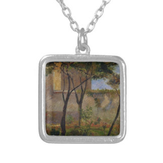 Corner of the garden rue Carsal by Paul Gauguin Square Pendant Necklace