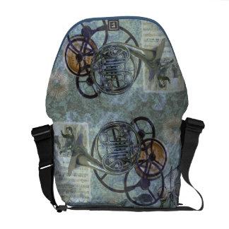 Cornucopia, a French Horn Steampunk Fantasy Courier Bag