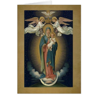 Coronation of Virgin Mary w/Jesus & Angels Card
