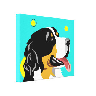 Cororful Bernese Mountain Dog Canvas Art