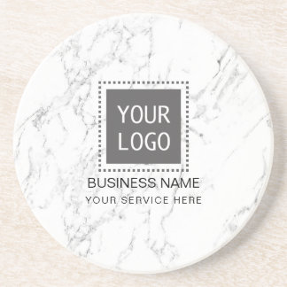 Corporate Custom Logo Modern White Marble Coasters