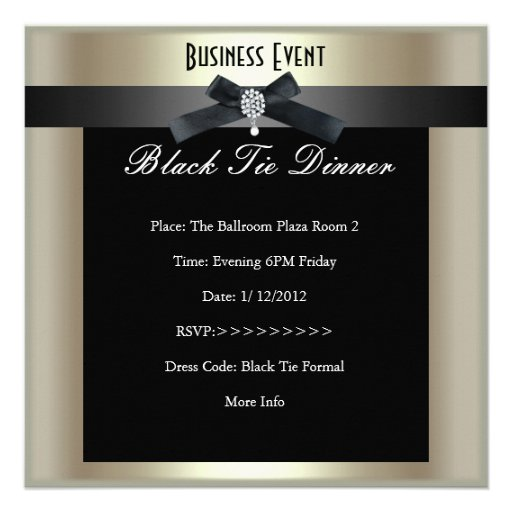 corporate event formal black tie champagne custom announcement. Black Bedroom Furniture Sets. Home Design Ideas