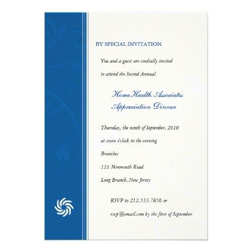 Corporate Vines Blue Personalized Invites