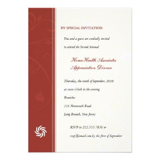 Corporate Vines Scarlet Personalized Invites