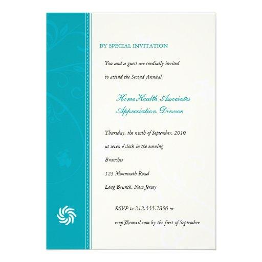 Corporate Vines Turquoise Custom Invites