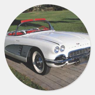 Corvette antique cars classic autos vintage cars round sticker
