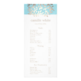 Cosmetology Silver Leaves Salon Price List Menu 2 Rack Card Template