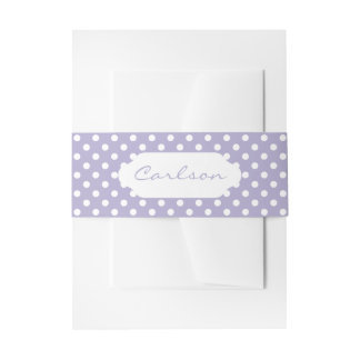Cosmic lavender/purple polka dots belly band invitation belly band