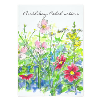 Cosmos Watercolor Flower 70th Birthday Party Card