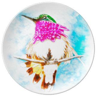 Costa Hummingbird Watercolor Plate