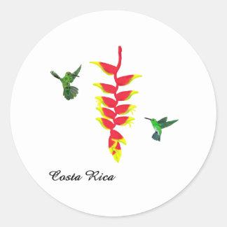 Costa Rica Hummingbirds and Heliconia Classic Round Sticker