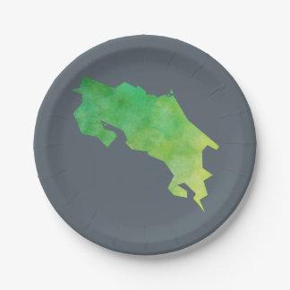 Costa Rica Map Paper Plate