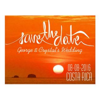 Costa Rica Sunset Beach Save the Date Postcard