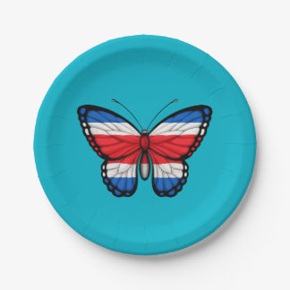 Costa Rican Butterfly Flag Paper Plate
