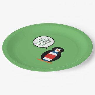 Costa Rican Civil Ensign Penguin Paper Plate